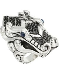 John Hardy - Legends Naga Ring With Black Sapphire, Black Spinel And Blue Sapphire Eyes (silver) Ring - Lyst