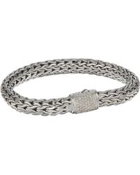 John Hardy - Classic Chain 7.5mm Bracelet With Diamonds (silver) Bracelet - Lyst