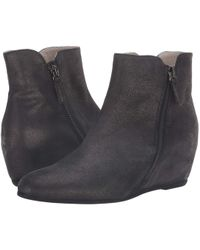 French Sole - Magic Wedge Bootie (black Metallic Suede) Women's Shoes - Lyst