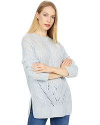 Vince Textured Cable Tunic Sweater - Blue