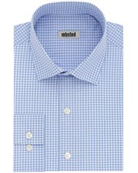 Kenneth Cole Dress Shirt Slim Fit Checks And Stripes - Blue