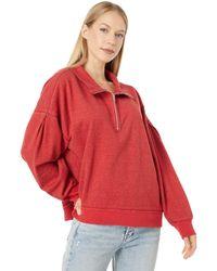 Dylan By True Grit Shay Double Fleece Drop Shoulder Zip-up Sweatshirt - Red