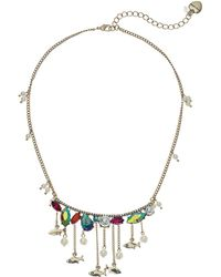 Betsey Johnson - Colorful Stone And Pearl Fish Frontal Necklace (multi) Necklace - Lyst