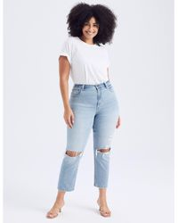 Abercrombie & Fitch Curve Love Ultra High Rise Ankle Straight Jeans - Blue