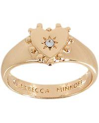 Rebecca Minkoff Studded Heart Pinky Ring - Metallic