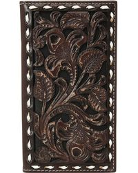 Ariat - Floral Embossed With Buckstitch Lace Rodeo Wallet (brown) Wallet Handbags - Lyst