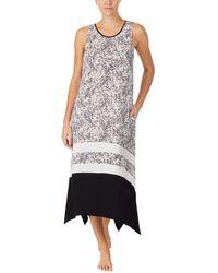 Donna Karan Sleepwear 44 Short Sleeve Long Sleep Gown - White