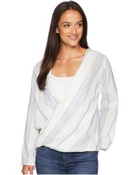 Dylan By True Grit - Maddy Chambray Stripe Long Sleeve Wrap Blouse (white/chambray) Women's Blouse - Lyst