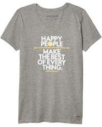 Life Is Good. Happy People Crusher Vee - Gray