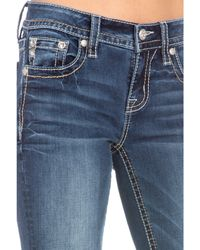 Miss Me Horseshoe Floral Cactus Bootcut Jeans In Dark Blue