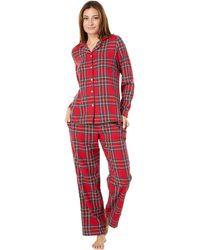 L.L. Bean Scotch Plaid Flannel Pajamas Plaid - Red