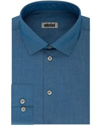 Kenneth Cole Slim Fit Solid Spread Collar Dress Shirt - Blue
