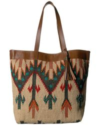Scully Belinha Woven Tote W/ Snap Closure - Brown