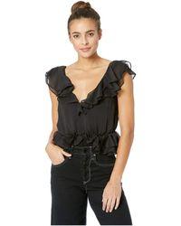 Bardot Emily Frill Bodysuit (black) Jumpsuit & Rompers One Piece