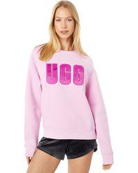 UGG Madeline Fuzzy Logo Crew Neck T-shirt - Pink