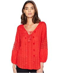 Michael Stars - Braided Stripe With Lace Boho Top (white) Women's Clothing - Lyst