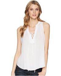 Stetson 1577 Rayon Crepe Laced Loose Tank Top (white) Clothing