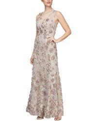 Alex Evenings Long A-line Rosette Dress With Short Sleeves Sequin Detail - Multicolor