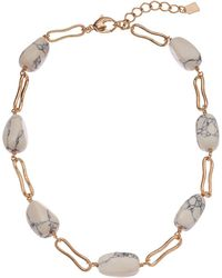 Robert Lee Morris Stone Beaded Collar Necklace - White