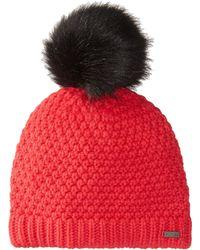 Sorel Cozy Knit Faux Fur Pom Beanie - Red