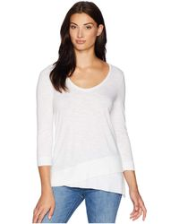 Lilla P - 3/4 Sleeve Ribbed Bottom Tee (white) Women's Long Sleeve Pullover - Lyst