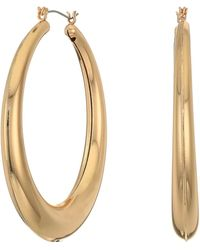 Guess Medium Sized Graduated Tube Hoop Earrings - Metallic