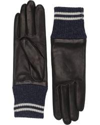 Rag & Bone Leather & Knit Ski Gloves - Black