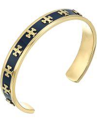 Tory Burch - Enamel Raised Logo Cuff Bracelet (new Ivory/tory Gold) Bracelet - Lyst