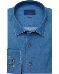 David Donahue Trim Fit Fusion Shirt - Blue
