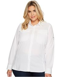 6f9078d64e6 Columbia Plus Size Silver Ridgetm Lite Short Sleeve Shirt (nocturnal)  Women's Clothing in White - Lyst