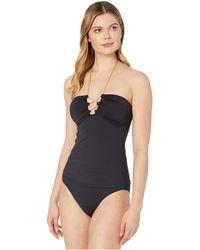Lauren by Ralph Lauren Beach Club Solids Laced Tubini Tankini - Black
