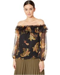 Vince Camuto - Long Sleeve Paisley Spice Ruffled Off Shoulder Blouse - Lyst