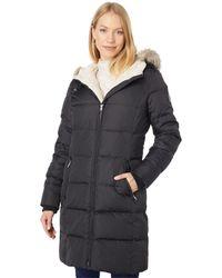 Lauren by Ralph Lauren Hooded Down Coat With Faux Leather Trim Berber - Black