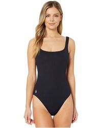 Polo Ralph Lauren Ribbed Modern Martinique Tank One-piece Swimsuit - Black