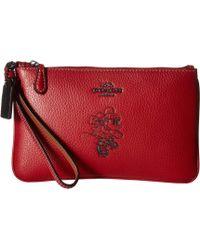 COACH Box Program Minnie Motif Small Wristlet (c)disney X (li/black) Wristlet Handbags - Red