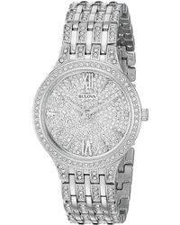 Bulova - Pave Crystals - 96l243 (sliver) Watches - Lyst