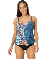 24th & Ocean Calm Palm Over The Shoulder Tankini Top