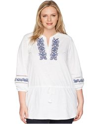 Lauren by Ralph Lauren - Plus Size Embroidered Cotton Top (soft White) Women's Clothing - Lyst
