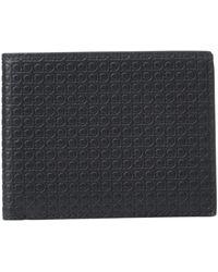 Ferragamo Mini Gancini Embossed Leather Bi - Fold Wallet - Black