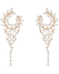 Nina - Fern Front/back Chandelier Earrings (rhodium/white Cz) Earring - Lyst