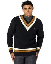 Fred Perry Stripe Neck V-neck Sweater Clothing - Black