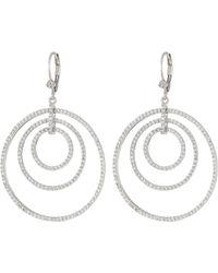 Nina - Orbital Hoop On Leverback Earrings (rhodium/white Cz) Earring - Lyst