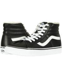 fa38bd6ef63200 Lyst - Vans Sk8-hi Reissue Zip Premium Leather True White   Black ...
