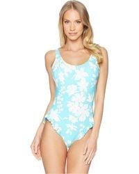 MICHAEL Michael Kors - Floral Vine One-piece Swimsuit W/ High Leg Ruffles & Removable Soft Cups - Lyst