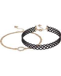 Guess - Figure 8 Choker And Pave Circle Necklace Set (gold/crystal/jet) Necklace - Lyst