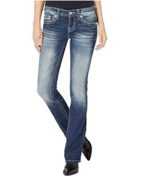 Miss Me Feather Wing Bootcut Jeans In Dark Blue
