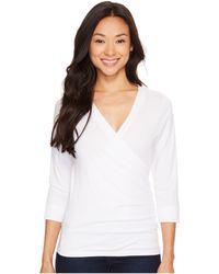 Lilla P Pima Jersey 3/4 Sleeve Surplice Top - White