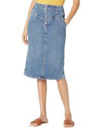 AG Jeans Selina Button-up Denim Skirt In Vendetta - Blue