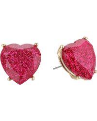 Betsey Johnson - Fuchsia Sparkle Heart Stud Earrings (fuchsia) Earring - Lyst