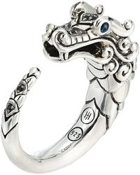 John Hardy - Legends Naga Brushed Ring With Black Sapphire (silver) Ring - Lyst